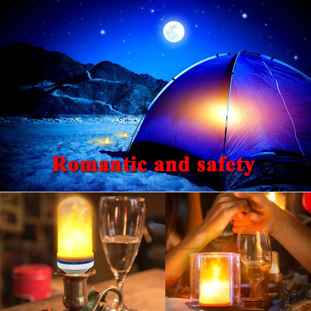 Romantic LED Flickering Simulation Flame Light Bulbs 3 Modes and Gyro Sensor,1500K True Fire Color,700 Lumens Nature effect,108pcs 2835 LED Beads