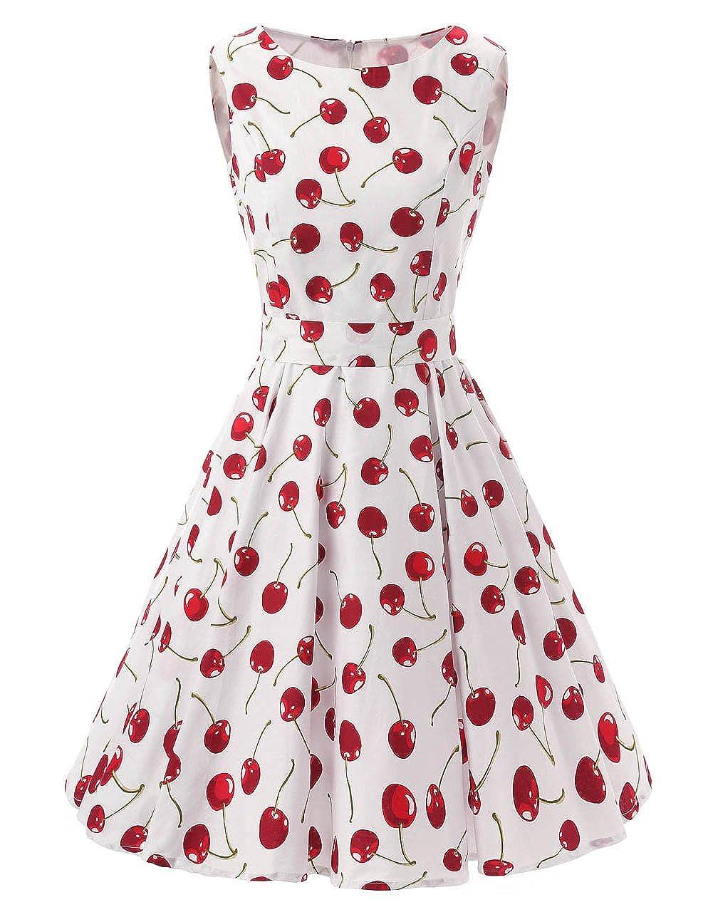 Cherry Ensnovo Womens Vintage 1950s Sleeveless Retro Floral Print Rockabilly Swing Dress