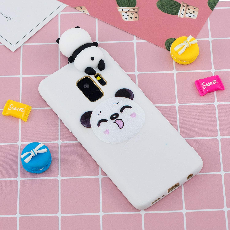 Gato QY Mart Funda Compatible with Samsung Galaxy S9 Blando 3D Dibujos Animados Dise/ño Suave TPU Gel Goma Bumper Candy Color Delgado Silicona Cover con Auriculares Organizador