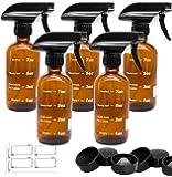 Glass Spray Bottle, Flutain Amber Refillable Glass Spray Bottles for Essential Oils, 8oz Empty Fine Mist Spray Bottle for Cleaning Solutions (8 Ounce x 5)