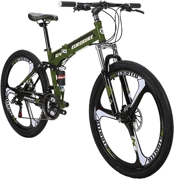 Eurobike OBK G4 26 Full Suspension Folding Mountain Bike 21 Speed Bicycle Men or Women MTB Foldable Frame