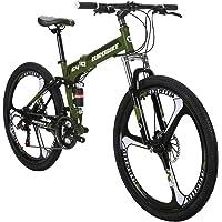 Panzisun Aluminum MTB Bicycle with 21 Speed Bike Double Disc Brake Folding Bike Carbon Steel Mountain Bike Full Suspension Cycling Urban Commuter City Bicycle 【US Stock】 26 inch Bike