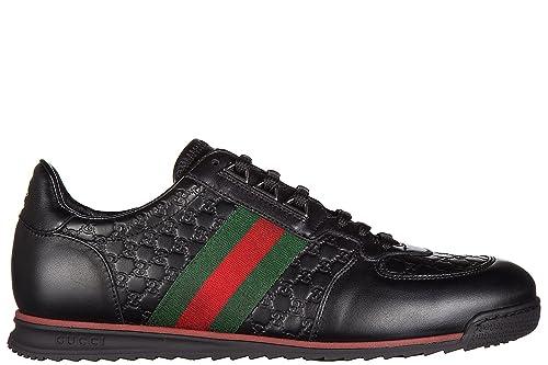 Gucci scarpe sneakers uomo in pelle nuove microgucci mirò soft nero  Amazon. it  Scarpe e borse 22cb6e82a67b
