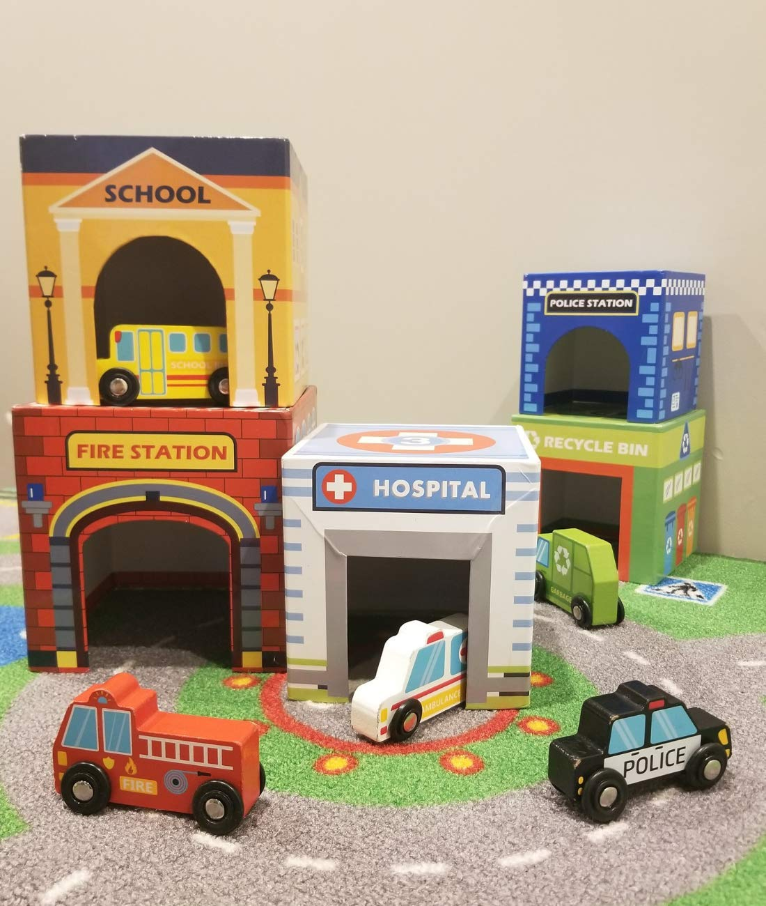 Play Vehicles 5 Cars and Stack-able Garages for Toy Cars, Toys for 2 Year Old Boys and up