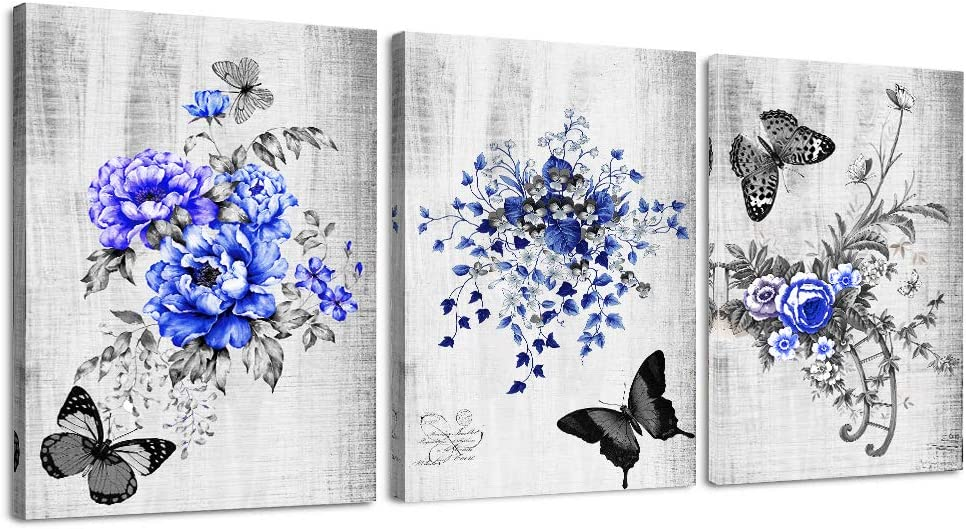 how to decorate with tropical colors home decor ideas.htm amazon com black and white blue flowers canvas prints wall art  canvas prints wall art