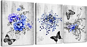 Black and white Blue flowers Canvas Prints Wall Art for bedroom living room Wall Artworks bathroom Wall Decor Watercolor painting 3 Piece Framed kitchen Home Decoration butterfly poster Picture decor