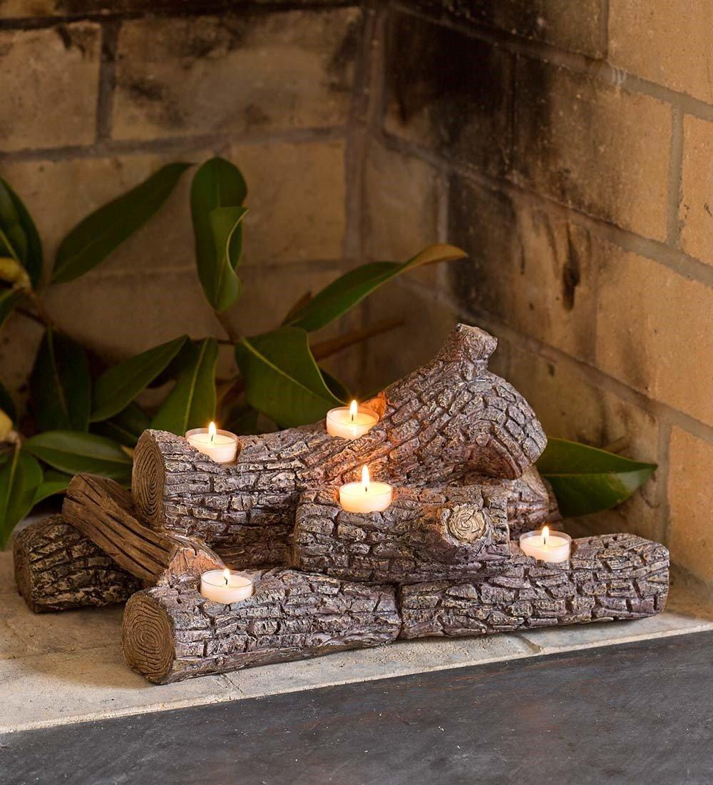 Plow & Hearth 13941-OAK Logs Hearth Candle Holder, in Oak