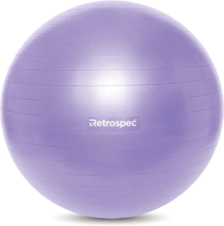 Retrospec Luna Exercise Ball Yoga /& Pilates Perfect for Balance Base /& Pump // Ball /& Pump with Anti-Burst Material Stability
