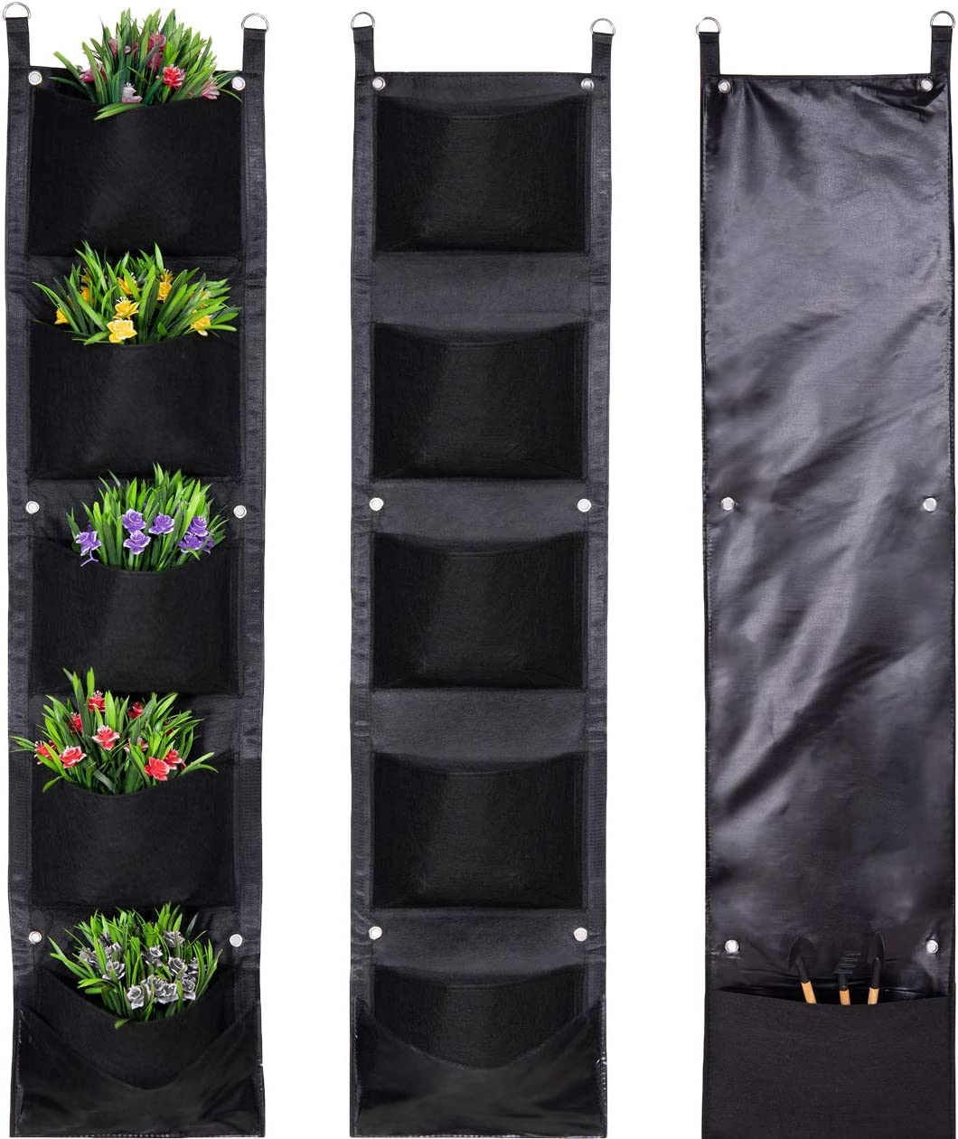 Mucalis Vertical Garden Wall Hanging Planter for Outdoor Indoor Plants 5 Bigger Deeper Pockets Wall Mounted Hanging Wall Planter Fence Balcony Herb Flower Plant Grow Bag with D-Ring Tool Storage