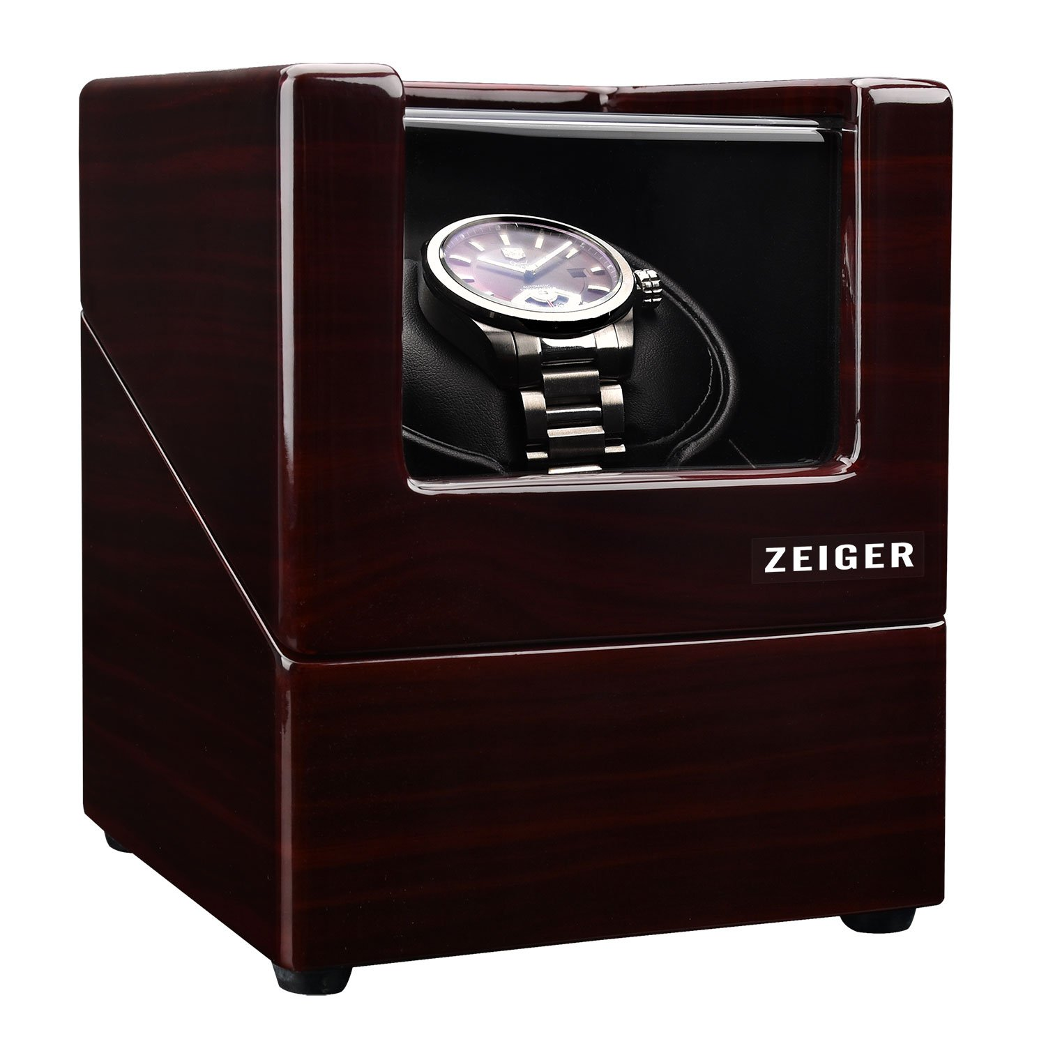 Zeiger Single Watch Winder for Large Watch Box Case with Quiet Automatic Japanese Mabuchi Motor Piano Paint s002