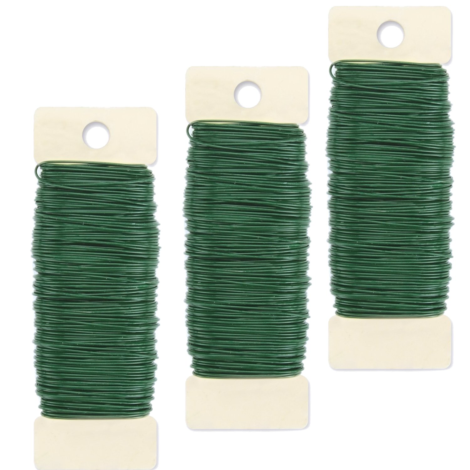 Curated Nirvana Paddle Wire for Wreaths, Garland, Floral Arrangements and Holiday Decorating Projects - 22 Gauge, Green - 330 Total Feet (3 Pack)