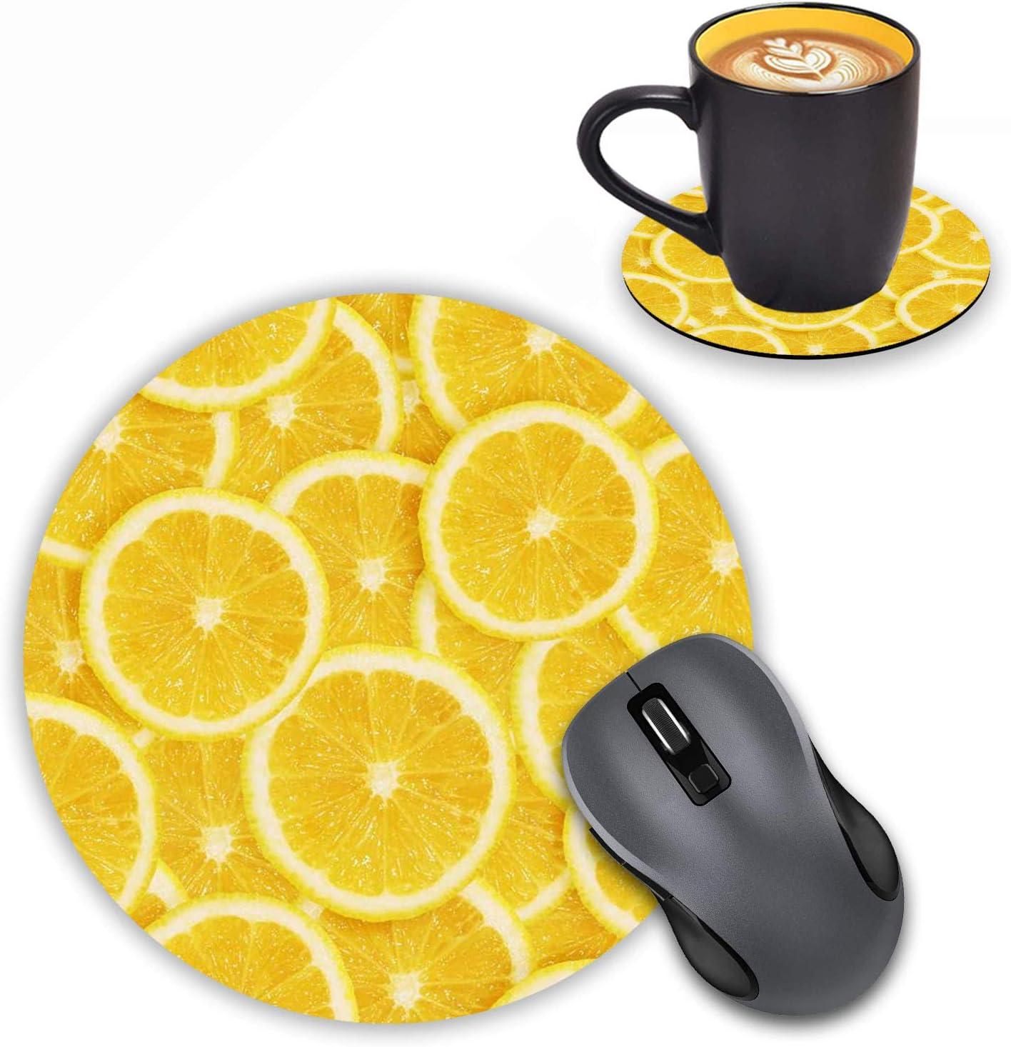 LOWORO Round Mouse Pad with Coasters Set, Lemon Slices Design Mouse Pad Non-Slip Rubber Mousepad Office Accessories Desk Decor Mouse Pads for Computers Laptop