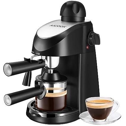 AICOOK Máquina de Café , Cafetera Espresso, Capuchino y máquina de espresso, Evaporador de leche, 4 tazas de café, Presión de 3,5 bares, 800W, Negro
