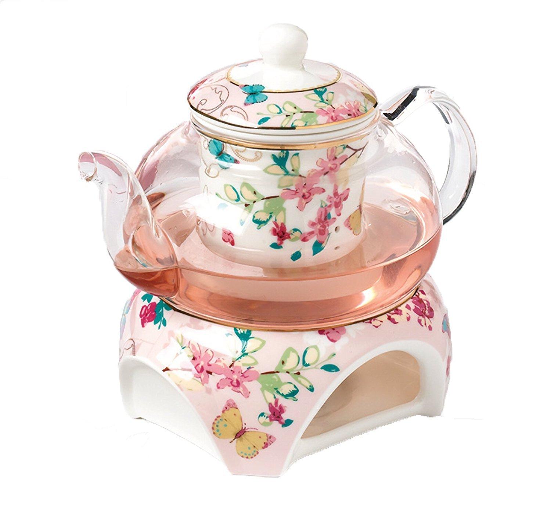 YBK Tech Bone China Kaffeekanne Teekanne mit Stövchen und Tee infuser- Schmetterlinge Design