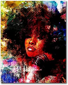 HVEST African Woman Canvas Wall Art-Black Woman with Afro Hair Artwork Hippie Painting for Living Room Bedroom Bathroom Office Wall Decor,Stretched and Framed Ready to Hang,12x16 inches