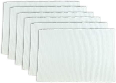 Dii 100 Cotton Basic Ribbed Placemat Set Set Of 6 White 6 Count Home Kitchen