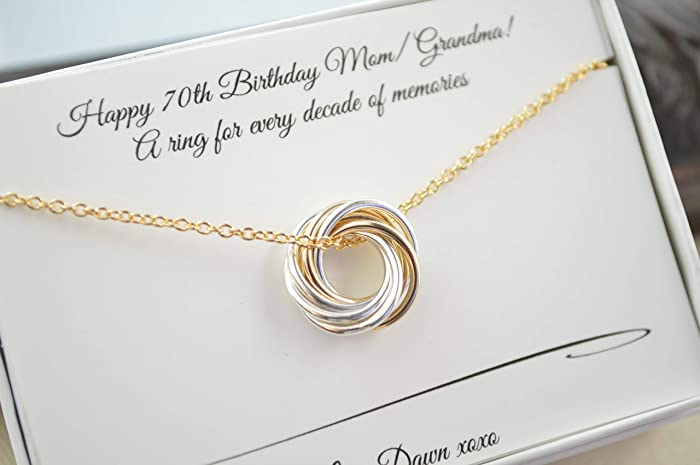 Petite Necklace 70th Birthday Gif For Grandma And Mom Mixed Metals 7th