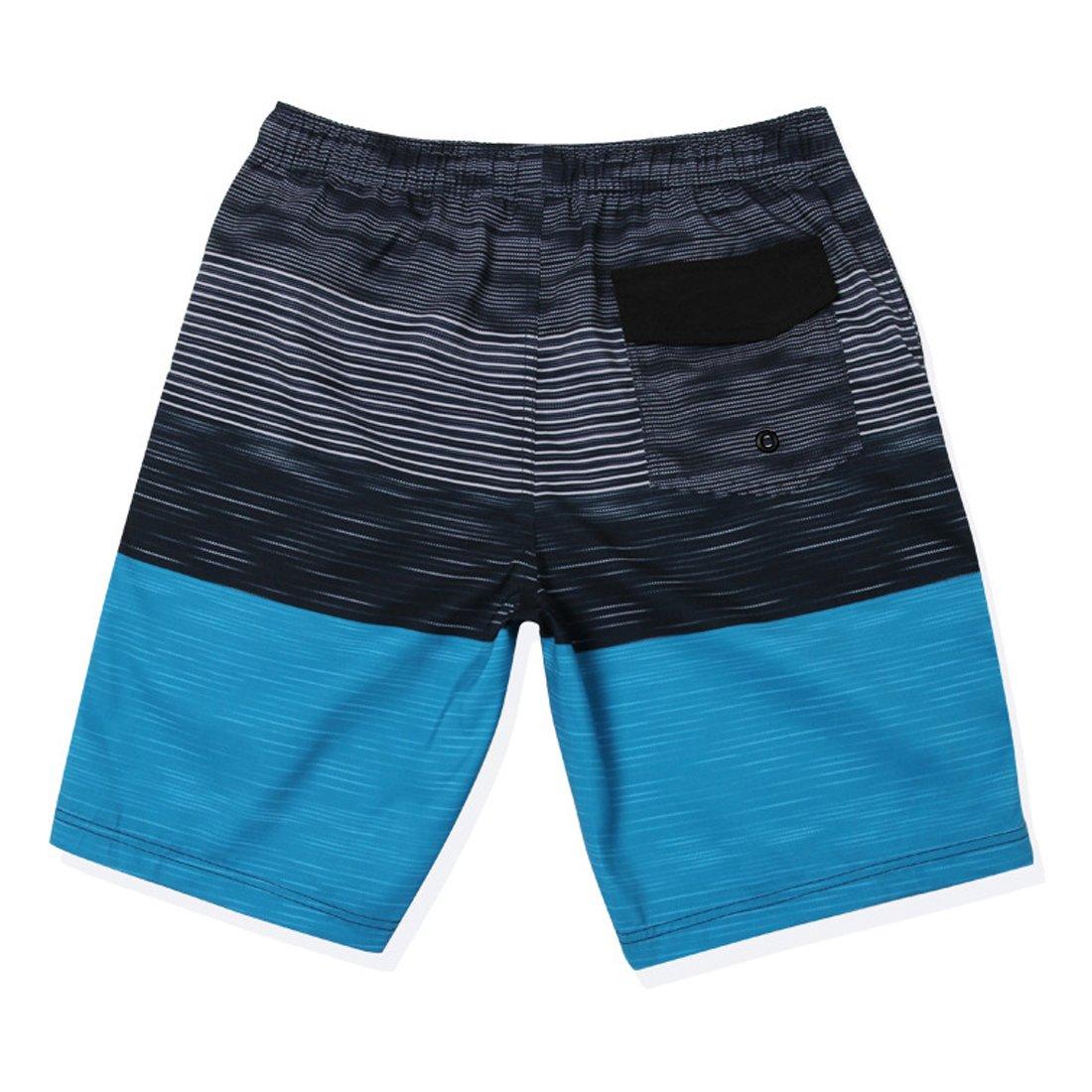 GWELL Herren Streifen Wasserdicht Badeshorts Beachshorts Boardshorts Badehose Sommer Strand blau