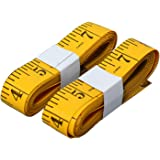 SumVibe 120 Inches/300cm Soft Tape Measure, Pocket Measuring Tape for Sewing Tailor Cloth Body Measurement, Yellow 2-Pack