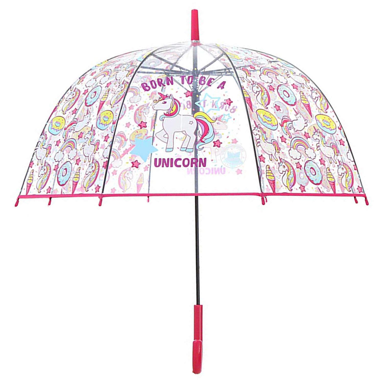 Ouverture de securit/é Antivent et Long Solide 3//12 Ans Diam/ètre 84 cm licorne parapluie transparent pour Cloche Enfant