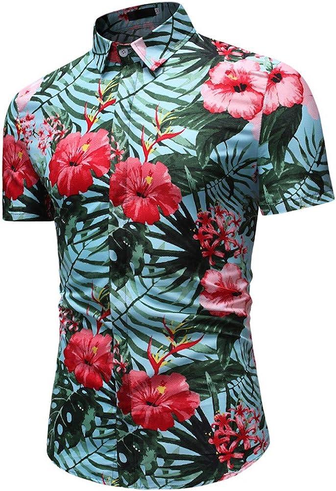 Vectry Hawaianas Hombre Manga Corta Camiseta Hombre Deporte ...