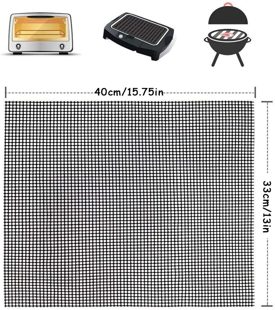Grille Barbecue Tapis de Cuisson Antiadh/ésif Feuille de Cuisson R/éutilisable R/ésistante /à la Chaleur de Gril pour Le Barbecue Dint/érieur et Ext/érieur ZZAZXB Supports de Cuisson pour Barbecue