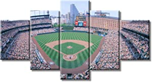 """MLB Sport Wall Decorations for Living Room Camden Yard Baseball Field, Baltimore, Maryland, USA Decor 5 Panel Canvas Pictures Modern Home Decor Giclee Framed Gallery-Wrapped Ready to Hang(60""""Wx32""""H)"""