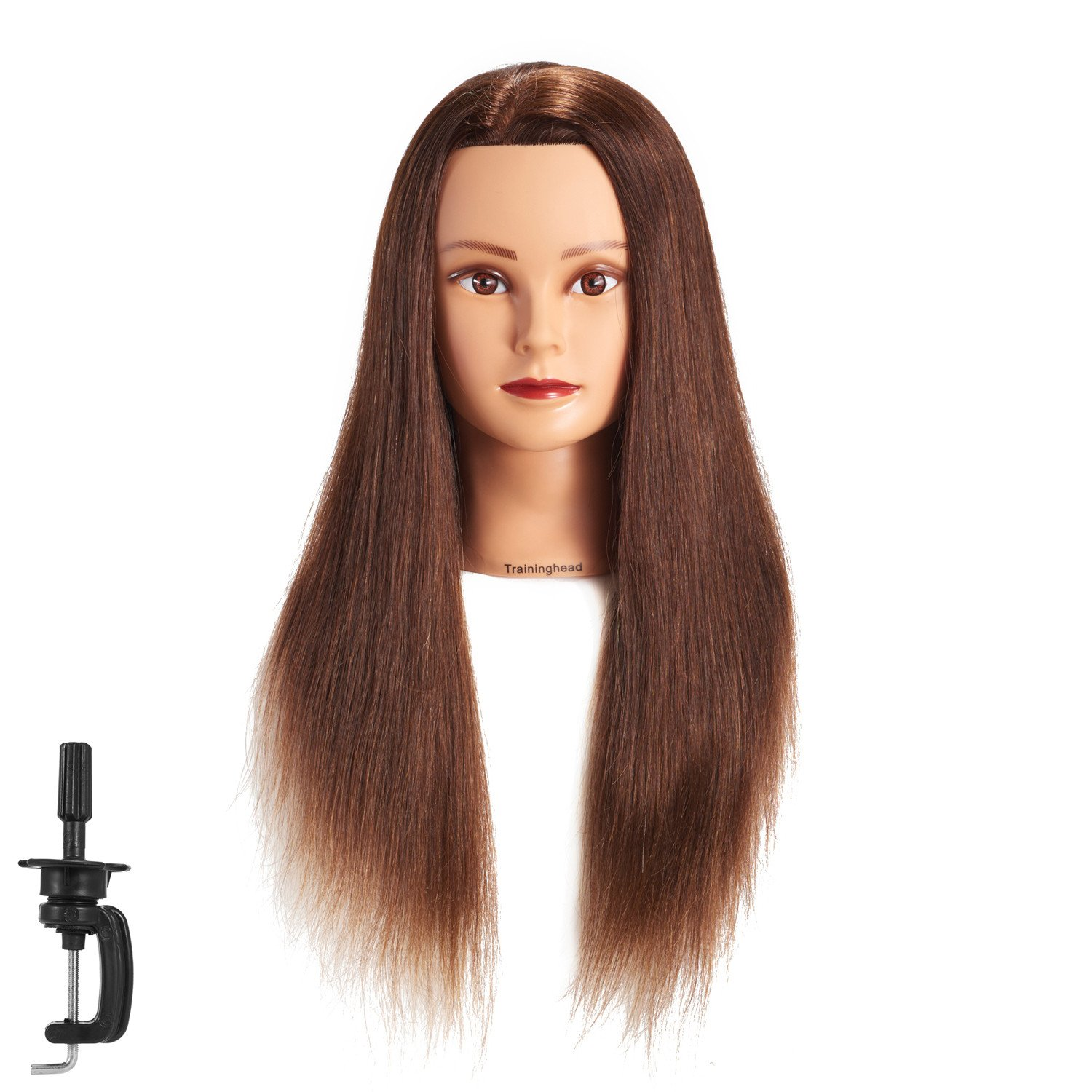 26-28 100% Human hair Mannequin head Training Head Cosmetology Manikin Head Doll Head with free Clamp (dark brown)