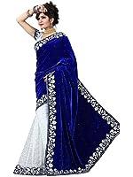 jashvi creation Women's Velvet & Net Saree (Jc_Blue Velvet Sari_505 _Blue)