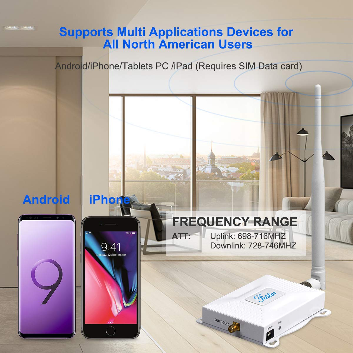 Cell Phone Signal Booster Amplifier for Home AT/&T Cricket U.S Cellular 4G LTE 700mhz Band 12//17,Increase Data Speed and No More Dropped Calls AT/&T Signal Booster Fustar Black
