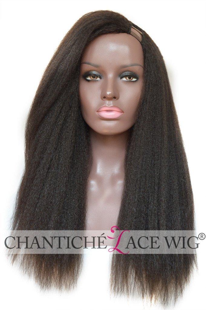Chantiche Natural Looking Italian Yaki Left U Part Wig Glueless Brazilian Virgin Human Hair Wigs For Black Women 150 Density African American Kinky Straight None Lace Wigs 18inch #1B