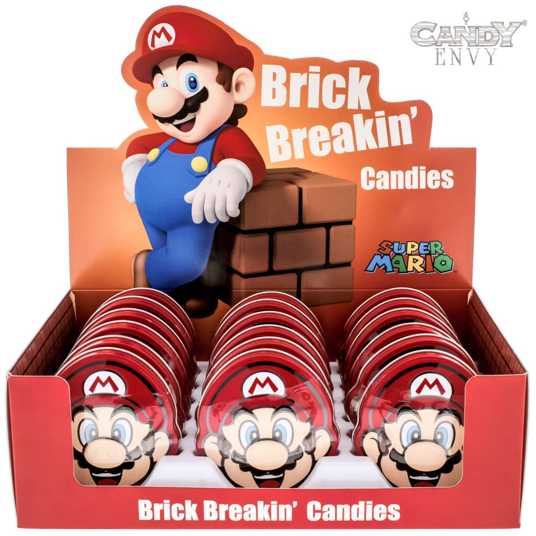 Nintendo Mario Brick Breakin' Candies - Cherry Flavored Hard Candy in Mario Shaped Tins - Includes ''How To Build a Candy Buffet'' Guide (18 Pack Display)
