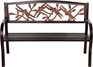 Evergreen Garden Patio and Outdoor Seating Dragonfly Metal Garden Bench in Bronze 50 x 33 x 21 Inches - Decorative and Durable Weather Resistant Outdoor Chair Seat for Home and Garden