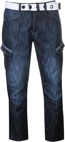 c24e7618 Airwalk Mens Belted Cargo Jeans Straight Fit Belt 6 Pockets Denim Trousers  Pants Dark Wash 32W