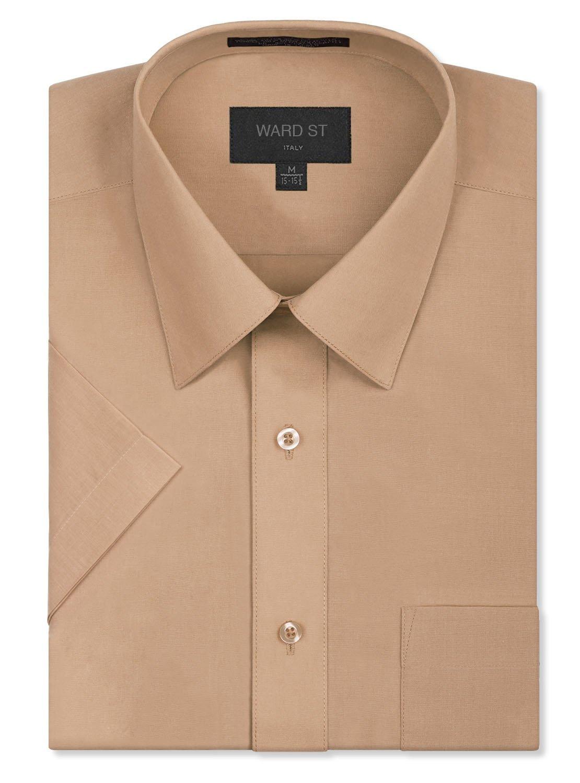 Ward St Men's Regular Fit Short Sleeve Dress Shirts, 2XL, 18-18.5N, Blush Khaki