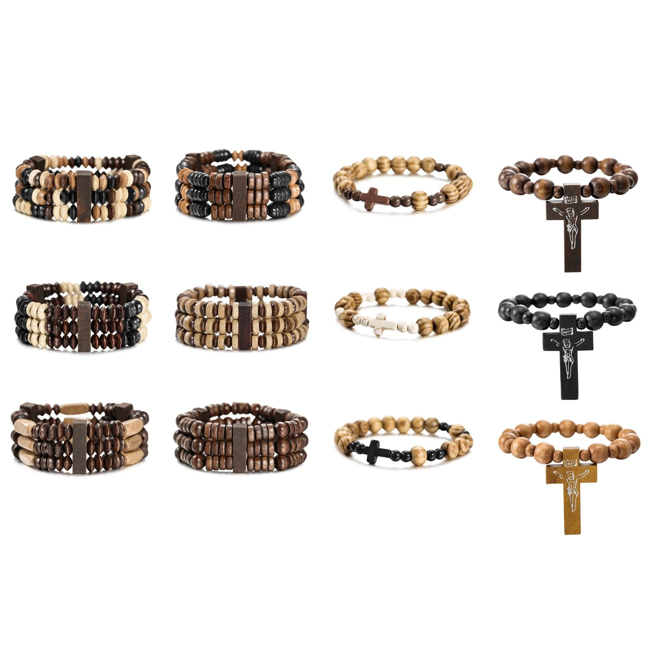 MOWOM 12PCS Alloy Genuine Leather Wood Bracelet Bangle Cross Pentagram Pentacle Bead Mala Elastic Rope Adjustable Set by MOWOM (Image #1)