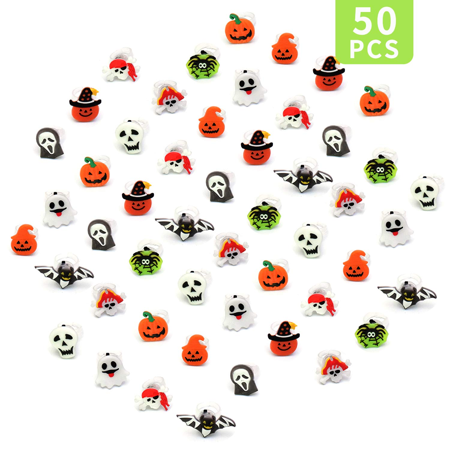 Senhui Halloween LED Ring,50pcs Rubber Ghost Pumpkin Skeleton LED Light Up Ring for Kids in The Dark Rave Birthday Party (Rings) by Senhui