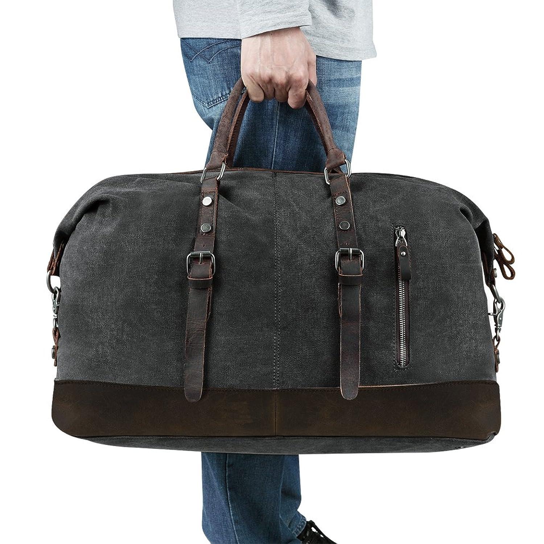 2d8685fd26a9 Amazon   BLUBOON大容量 ボストンバッグ 2way ショルダー バック 2~3泊程度 旅行 カバン キャンバス+本革(ブラック)    シューズ&バッグ