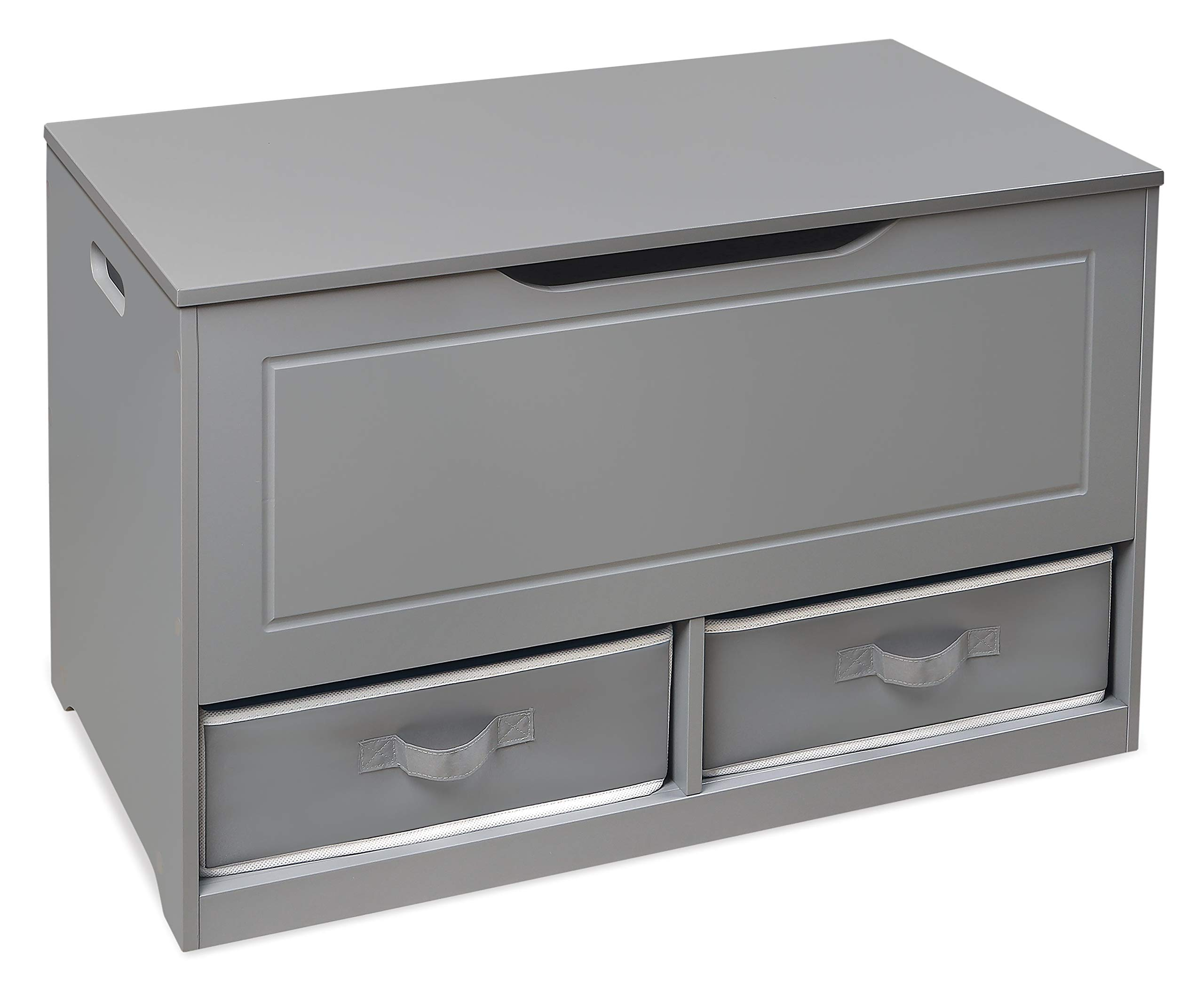 Badger Basket Up and Down Toy and Storage Box with 2 Basket Drawers, Gray/White by Badger Basket (Image #1)