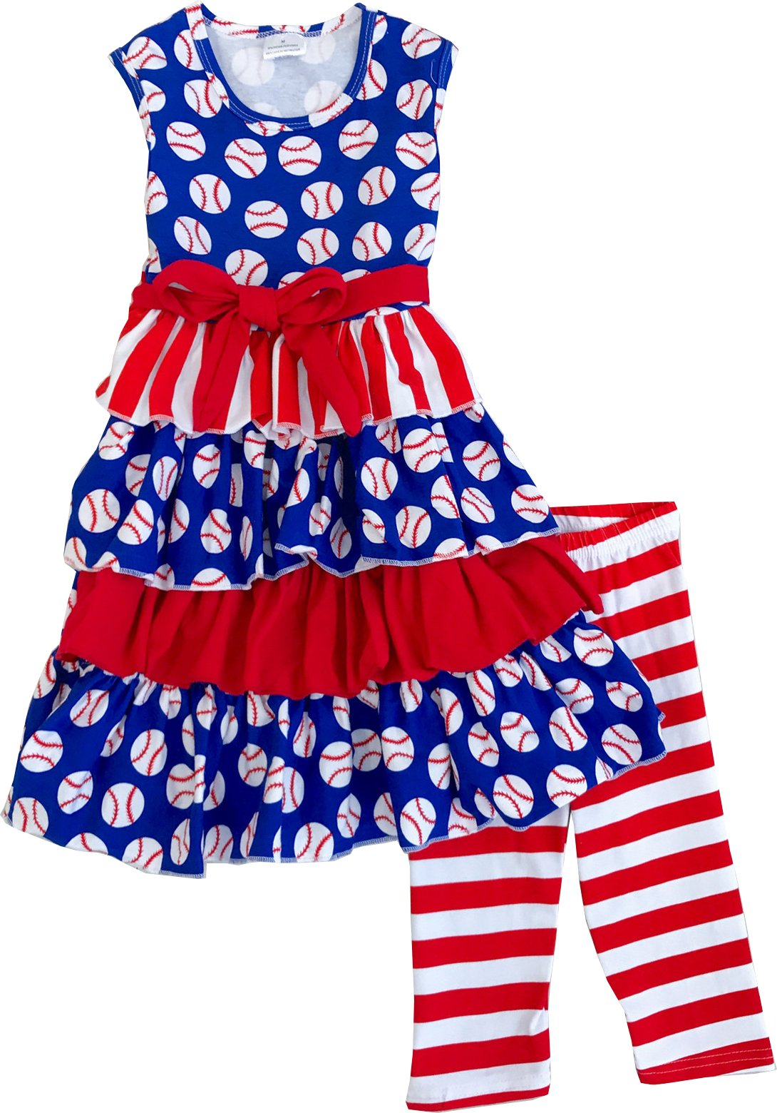 Angeline Girls July 4th Independence Day Star Of The Game Baseball Ruffle Capri Set 6T/XL