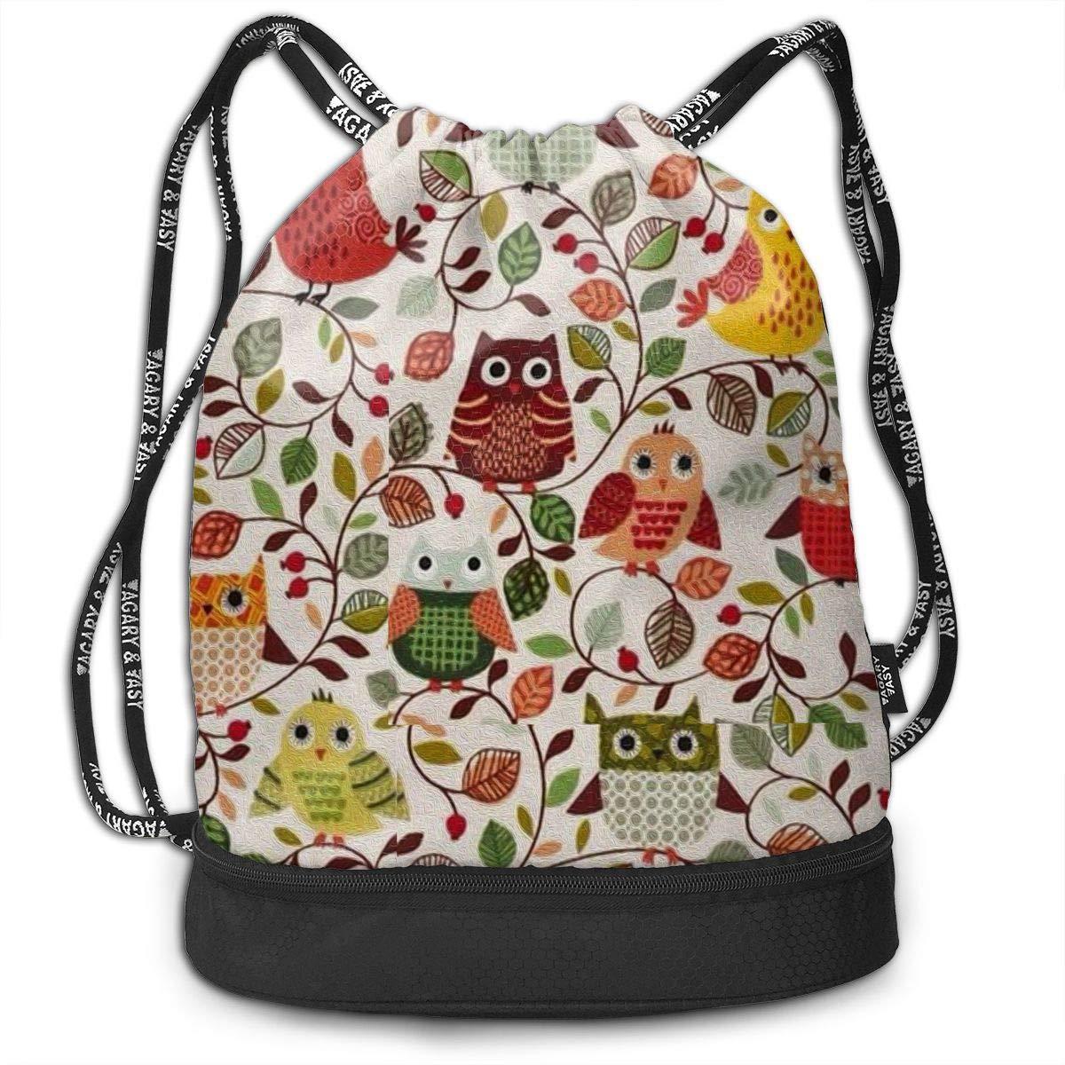 Travel Owl Print Gym Bag