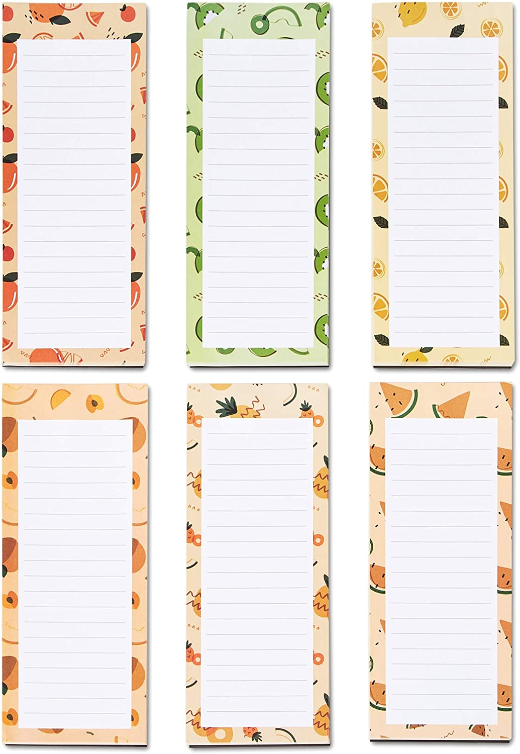 Grocery List Magnet Pad for Fridge, 6-Pack Magnetic Note Pads Lists, 60 Sheets Per Pad, 6 Cute Fruits Designs, Full Magnet Back To-Do-List Notepads