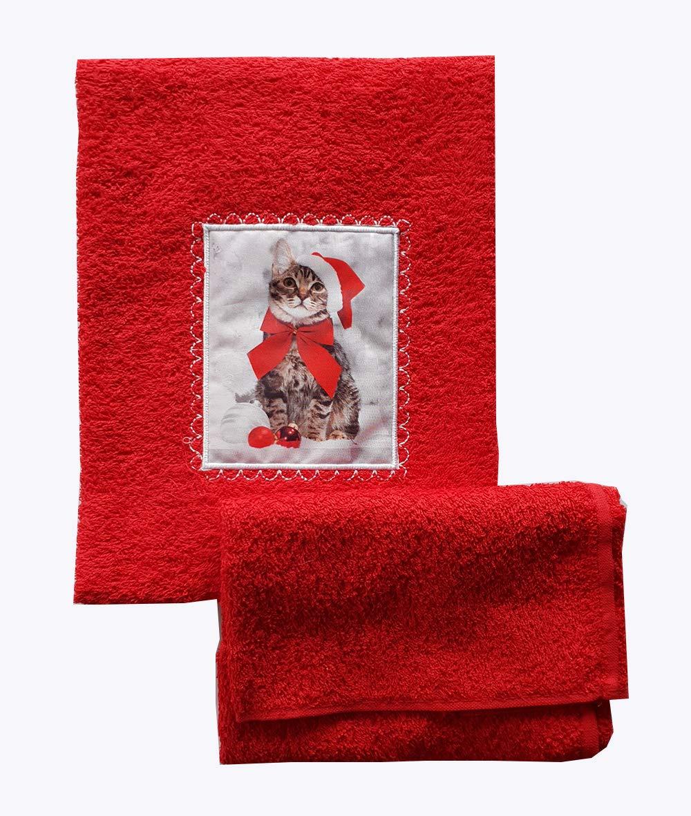 Coppie COPIOLE Bagno Asciugamano + OSPITE Natale con Applicazione Gatto in Stampa Digitale Colore Rosso Produzione Italiana Idea Regalo OM DOLCE CASA