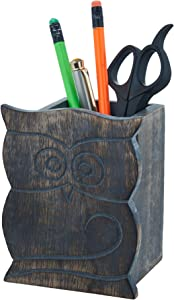 Birthday Gifts Owl Design Rustic Wood Pencil Holder Pen Cup Spectacle Eyeglasses Holder Desk Caddy Organizer Office Supplies Accessories Gift Ideas Office Coworkers (Gray)