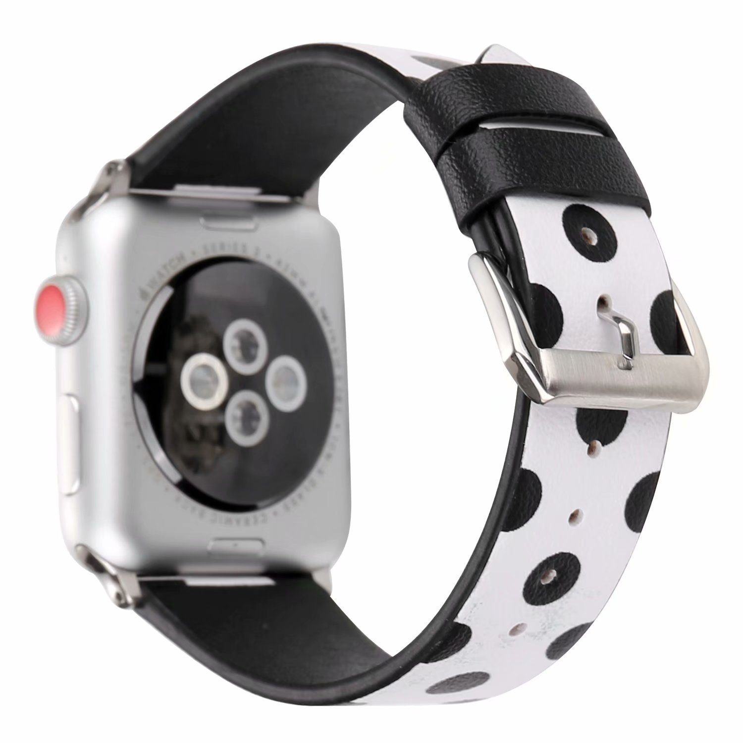 8b6d6975f815b9 Clatune Lovely Polka Dots Pattern Band Strap Cute Style Leather Wristband  Bracelet Compatible with 42mm Apple Watch Series 3/2/1 (White/Black): ...