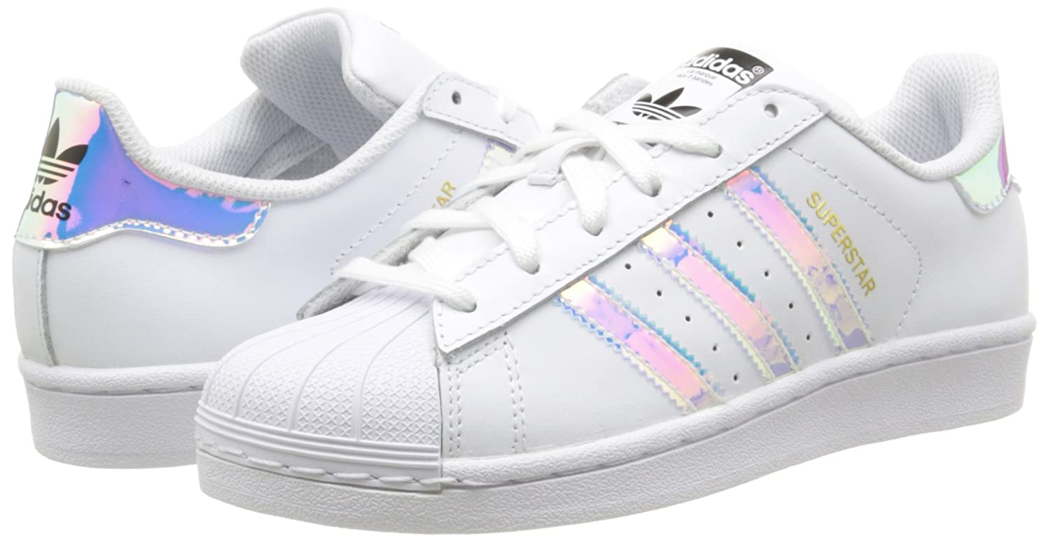 huge discount 4c49f 992b2 Amazon.com  adidas Originals Superstar J WhiteIridescent Leather Youth  Trainers Shoes  Sneakers