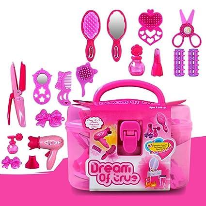 Amazon Com Ocamo Kids Beauty Salon Toys Beauty Case With Hairdryer
