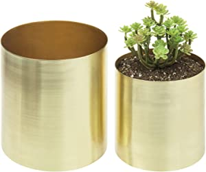 MyGift Cylindrical Brushed Brass Plated Planter Pots, Set of 2