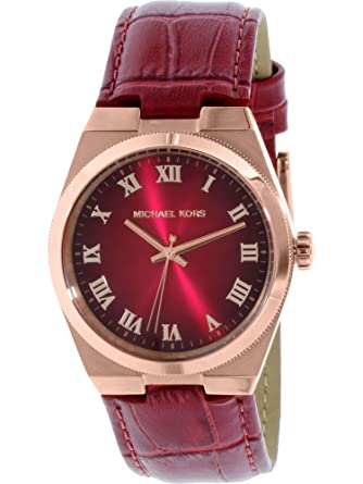 a59876c01091 Image Unavailable. Image not available for. Color  Michael Kors Women s  MK2357 - Channing Rose Gold Red Dial Watch