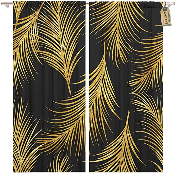 Golee Window Curtain Pattern of Golden Palm Leaves in Gold Artdeco 20S Home Decor Pocket Drapes 2 Panels Curtain 104 x 96 inches